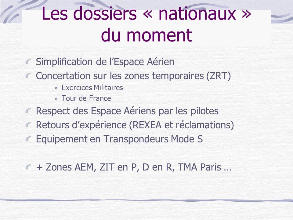 Les dossiers « nationaux » du moment Simplification de l'Espace Aérien Concertation sur les zones temporaires (ZRT) Exercices Militaires Tour de Franc