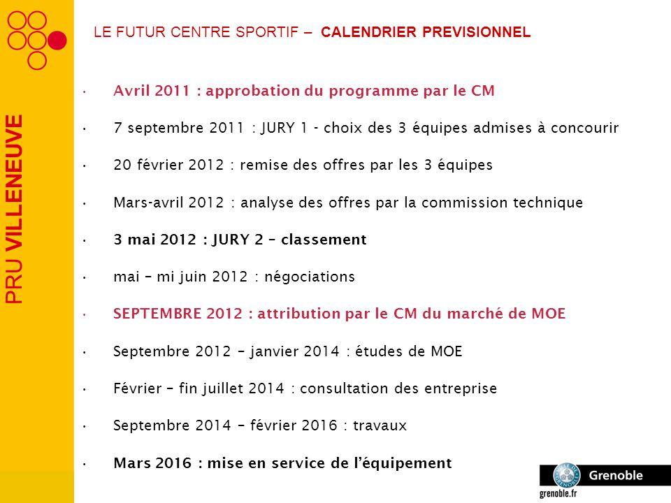 PRU VILLENEUVE LE FUTUR CENTRE SPORTIF – CALENDRIER PREVISIONNEL Avril 2011 : approbation du programme par le CM 7 septembre 2011 : JURY 1 - choix des