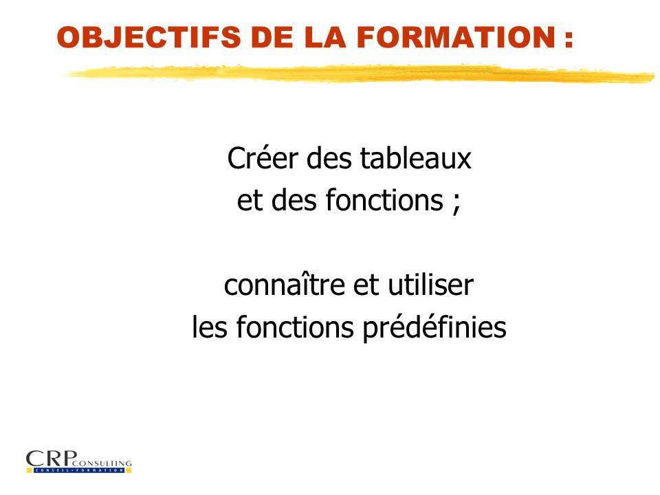 OBJECTIFS DE LA FORMATION : Créer des tableaux et des fonctions ; connaître et utiliser les fonctions prédéfinies