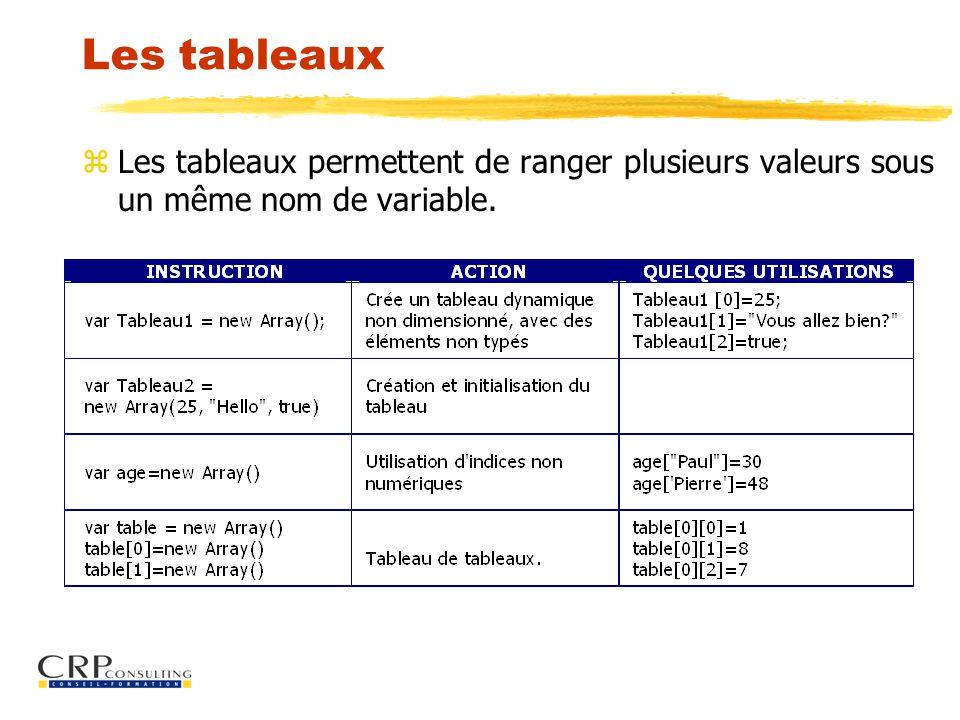 Les tableaux z Les tableaux permettent de ranger plusieurs valeurs sous un même nom de variable.