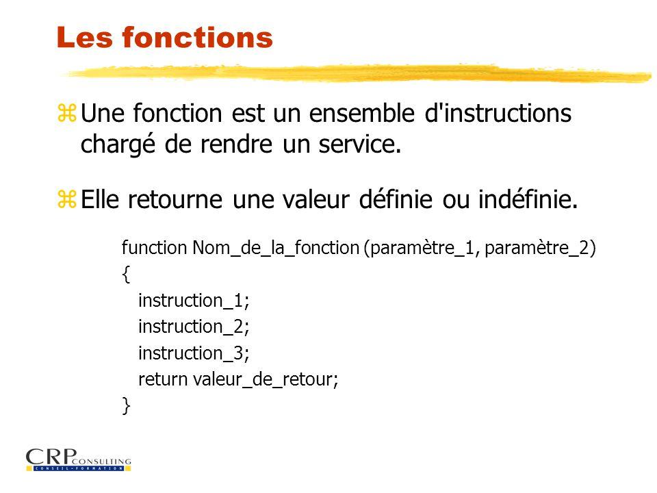Les fonctions zUne fonction est un ensemble d instructions chargé de rendre un service.