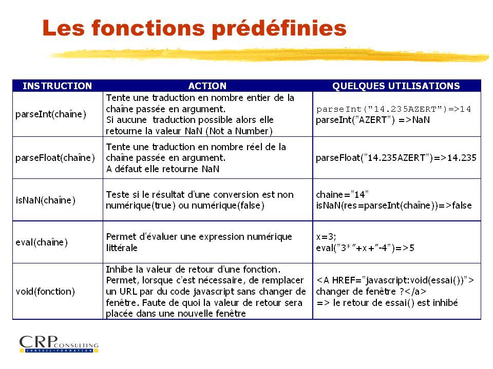 Les fonctions prédéfinies