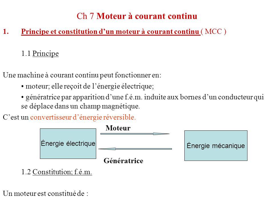 Ch 7 Moteur à courant continu 1.Principe et constitution d'un moteur à courant continu ( MCC ) 1.1 Principe Une machine à courant continu peut fonctio