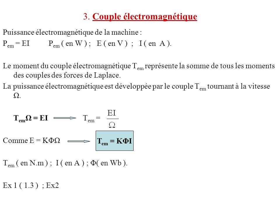 3. Couple électromagnétique Puissance électromagnétique de la machine : P em = EI P em ( en W ) ; E ( en V ) ; I ( en A ). Le moment du couple électro