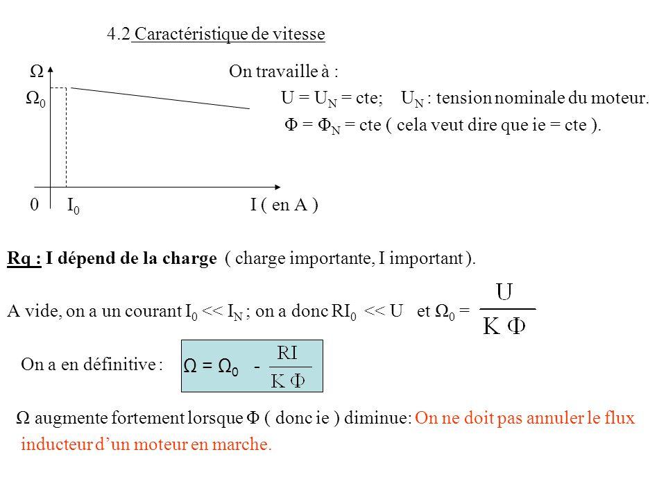 4.2 Caractéristique de vitesse Ω On travaille à : Ω 0 U = U N = cte; U N : tension nominale du moteur. Φ = Φ N = cte ( cela veut dire que ie = cte ).