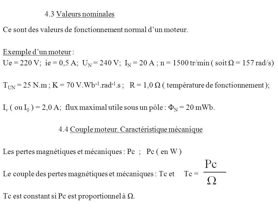 4.3 Valeurs nominales Ce sont des valeurs de fonctionnement normal d'un moteur. Exemple d'un moteur : Ue = 220 V; ie = 0,5 A; U N = 240 V; I N = 20 A