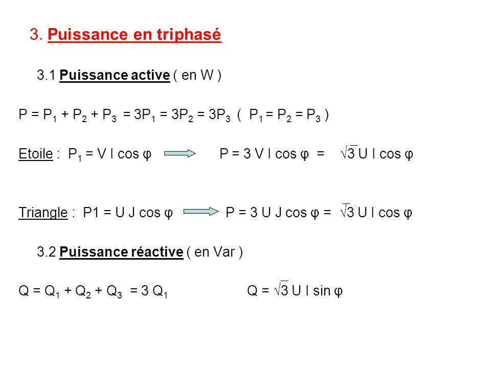 3. Puissance en triphasé 3.1 Puissance active ( en W ) P = P 1 + P 2 + P 3 = 3P 1 = 3P 2 = 3P 3 ( P 1 = P 2 = P 3 ) Etoile : P 1 = V I cos φ P = 3 V I