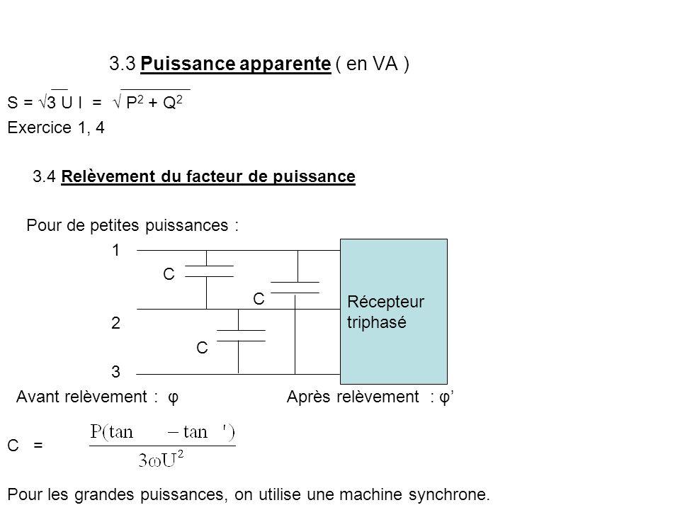 3.3 Puissance apparente ( en VA ) S = √3 U I = √ P 2 + Q 2 Exercice 1, 4 3.4 Relèvement du facteur de puissance Pour de petites puissances : 1 C 2 C 3