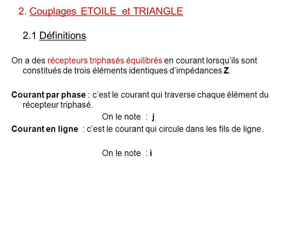 2. Couplages ETOILE et TRIANGLE 2.1 Définitions On a des récepteurs triphasés équilibrés en courant lorsqu'ils sont constitués de trois éléments ident