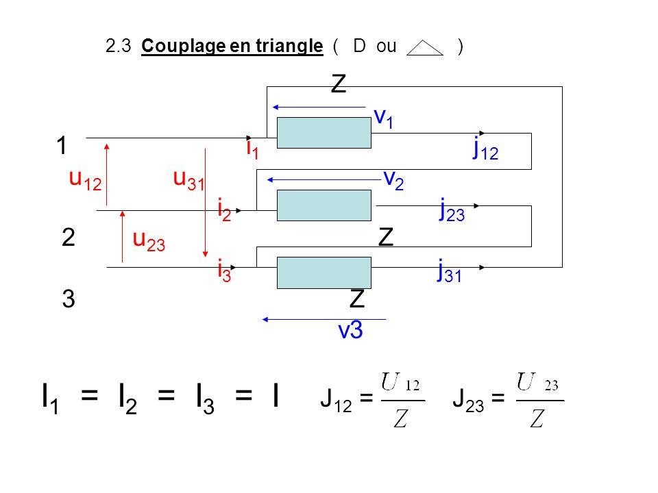 2.3 Couplage en triangle ( D ou ) Z v 1 1 i 1 j 12 u 12 u 31 v 2 i 2 j 23 2 u 23 Z i 3 j 31 3 Z v3 I 1 = I 2 = I 3 = I J 12 = J 23 =