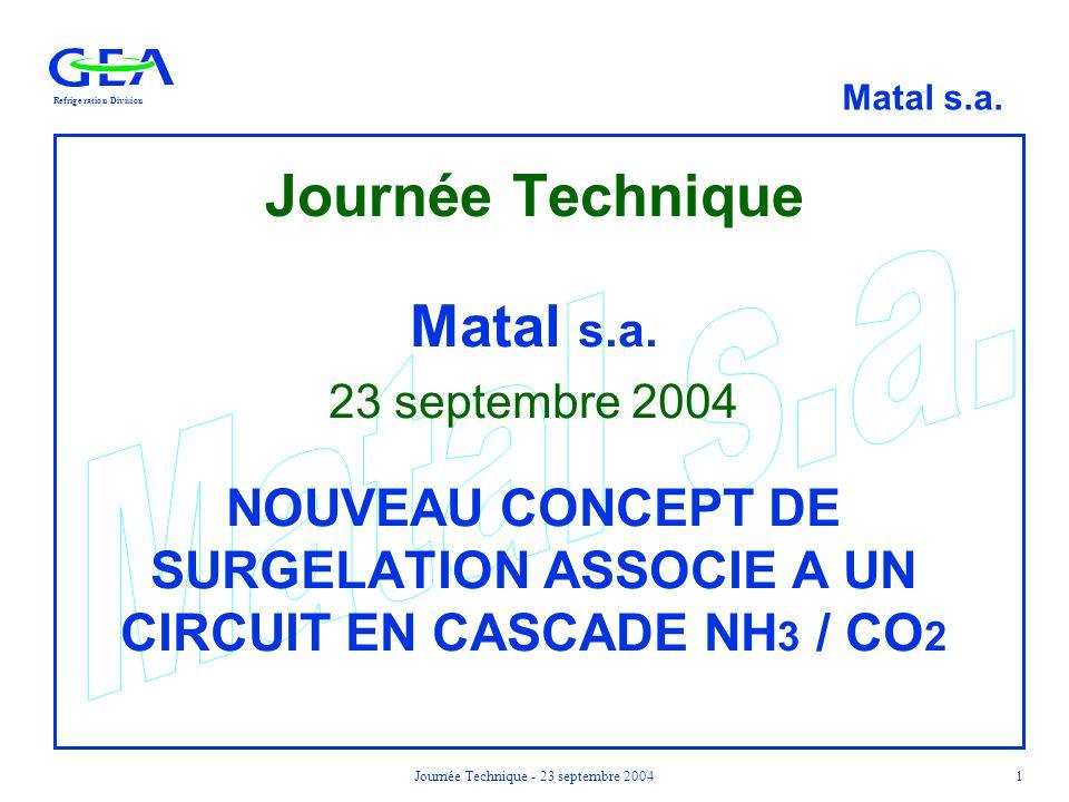RefrigerationDivision Matal s.a. Journée Technique - 23 septembre 20041 Journée Technique Matal s.a. 23 septembre 2004 NOUVEAU CONCEPT DE SURGELATION