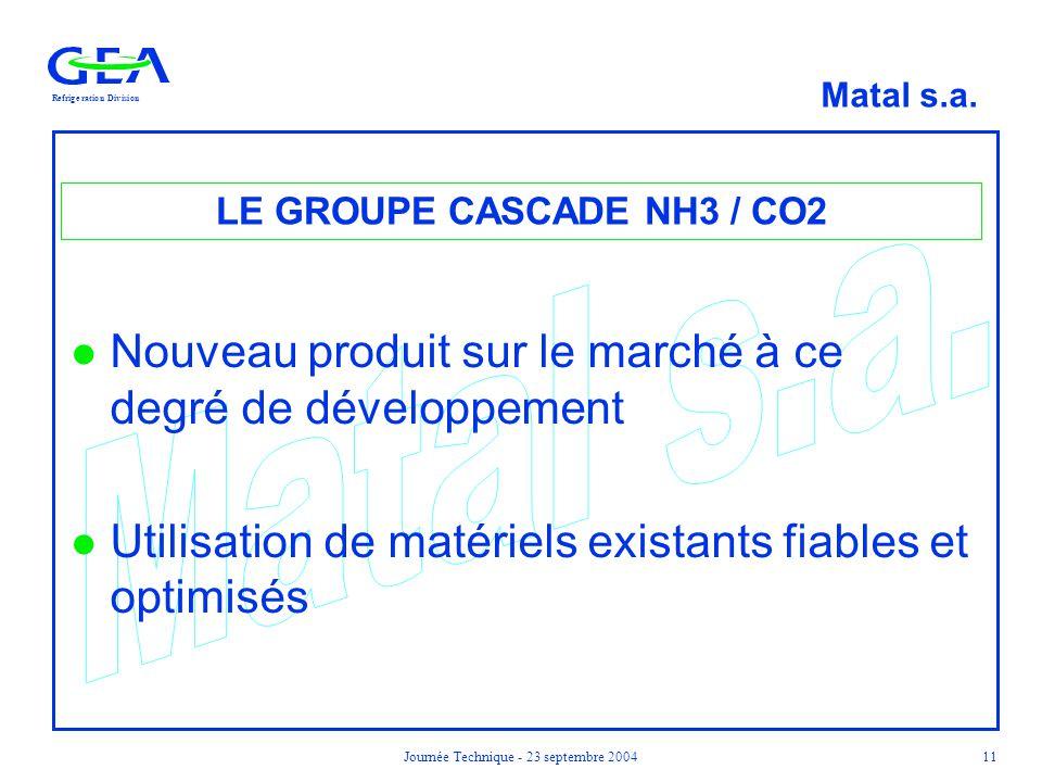 RefrigerationDivision Matal s.a. Journée Technique - 23 septembre 200411 LE GROUPE CASCADE NH3 / CO2 l Nouveau produit sur le marché à ce degré de dév