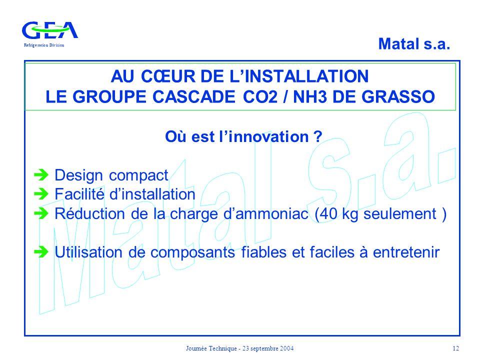 RefrigerationDivision Matal s.a. Journée Technique - 23 septembre 200412 AU CŒUR DE L'INSTALLATION LE GROUPE CASCADE CO2 / NH3 DE GRASSO Où est l'inno