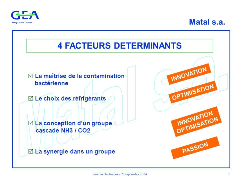 RefrigerationDivision Matal s.a. Journée Technique - 23 septembre 20043 4 FACTEURS DETERMINANTS  La maîtrise de la contamination bactérienne  Le cho