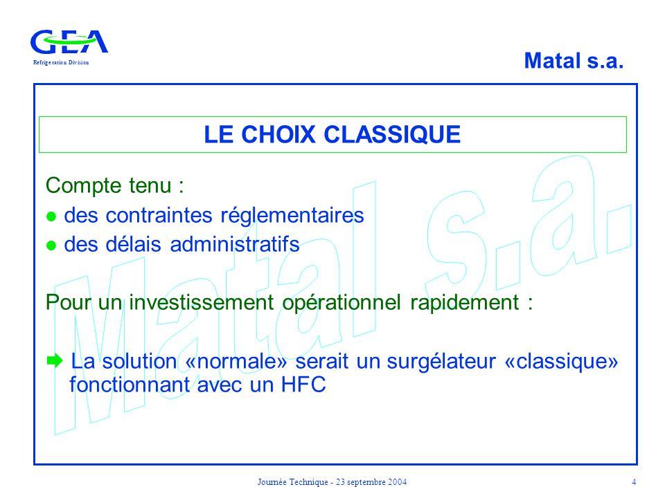 RefrigerationDivision Matal s.a. Journée Technique - 23 septembre 20044 LE CHOIX CLASSIQUE Compte tenu : l des contraintes réglementaires l des délais