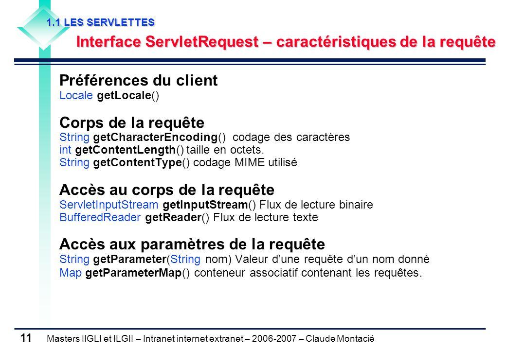 Masters IIGLI et ILGII – Intranet internet extranet – 2006-2007 – Claude Montacié 11 1.1 LES SERVLETTES 1.1 LES SERVLETTES Interface ServletRequest – caractéristiques de la requête Interface ServletRequest – caractéristiques de la requête Préférences du client Locale getLocale() Corps de la requête String getCharacterEncoding() codage des caractères int getContentLength() taille en octets.