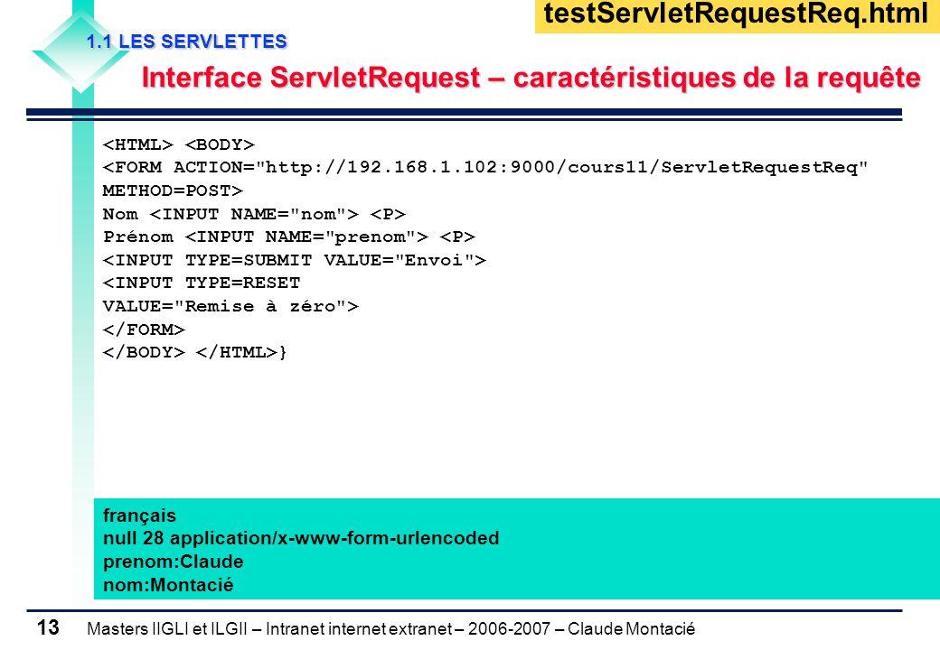 Masters IIGLI et ILGII – Intranet internet extranet – 2006-2007 – Claude Montacié 13 1.1 LES SERVLETTES 1.1 LES SERVLETTES Interface ServletRequest – caractéristiques de la requête Interface ServletRequest – caractéristiques de la requête <FORM ACTION= http://192.168.1.102:9000/cours11/ServletRequestReq METHOD=POST> Nom Prénom <INPUT TYPE=RESET VALUE= Remise à zéro > } testServletRequestReq.html français null 28 application/x-www-form-urlencoded prenom:Claude nom:Montacié