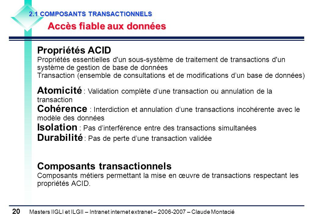 Masters IIGLI et ILGII – Intranet internet extranet – 2006-2007 – Claude Montacié 20 2.1 COMPOSANTS TRANSACTIONNELS 2.1 COMPOSANTS TRANSACTIONNELS Accès fiable aux données Accès fiable aux données Propriétés ACID Propriétés essentielles d un sous-système de traitement de transactions d un système de gestion de base de données Transaction (ensemble de consultations et de modifications d'un base de données) Atomicité : Validation complète d'une transaction ou annulation de la transaction Cohérence : Interdiction et annulation d'une transactions incohérente avec le modèle des données Isolation : Pas d'interférence entre des transactions simultanées Durabilité : Pas de perte d'une transaction validée Composants transactionnels Composants métiers permettant la mise en œuvre de transactions respectant les propriétés ACID.