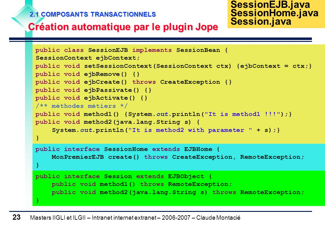 Masters IIGLI et ILGII – Intranet internet extranet – 2006-2007 – Claude Montacié 23 2.1 COMPOSANTS TRANSACTIONNELS 2.1 COMPOSANTS TRANSACTIONNELS Création automatique par le plugin Jope public class SessionEJB implements SessionBean { SessionContext ejbContext; public void setSessionContext(SessionContext ctx) {ejbContext = ctx;} public void ejbRemove() {} public void ejbCreate() throws CreateException {} public void ejbPassivate() {} public void ejbActivate() {} /** méthodes métiers */ public void method1() {System.out.println( It is method1 !!! );} public void method2(java.lang.String s) { System.out.println( It is method2 with parameter + s);} } public interface SessionHome extends EJBHome { MonPremierEJB create() throws CreateException, RemoteException; } public interface Session extends EJBObject { public void method1() throws RemoteException; public void method2(java.lang.String s) throws RemoteException; } SessionEJB.java SessionHome.java Session.java