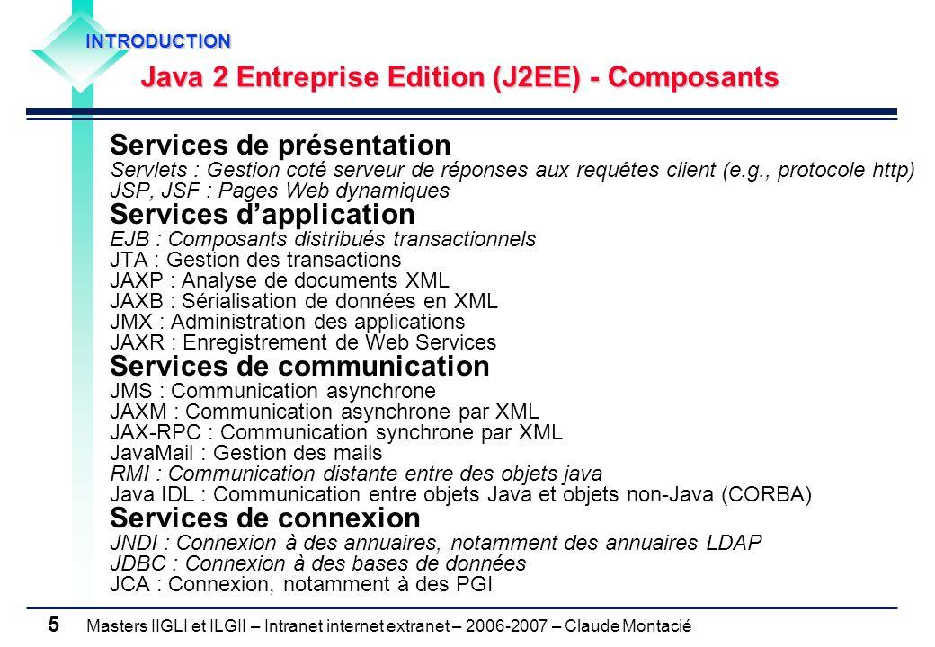 Masters IIGLI et ILGII – Intranet internet extranet – 2006-2007 – Claude Montacié 5 Services de présentation Servlets : Gestion coté serveur de réponses aux requêtes client (e.g., protocole http) JSP, JSF : Pages Web dynamiques Services d'application EJB : Composants distribués transactionnels JTA : Gestion des transactions JAXP : Analyse de documents XML JAXB : Sérialisation de données en XML JMX : Administration des applications JAXR : Enregistrement de Web Services Services de communication JMS : Communication asynchrone JAXM : Communication asynchrone par XML JAX-RPC : Communication synchrone par XML JavaMail : Gestion des mails RMI : Communication distante entre des objets java Java IDL : Communication entre objets Java et objets non-Java (CORBA) Services de connexion JNDI : Connexion à des annuaires, notamment des annuaires LDAP JDBC : Connexion à des bases de données JCA : Connexion, notamment à des PGI INTRODUCTION INTRODUCTION Java 2 Entreprise Edition (J2EE) - Composants Java 2 Entreprise Edition (J2EE) - Composants