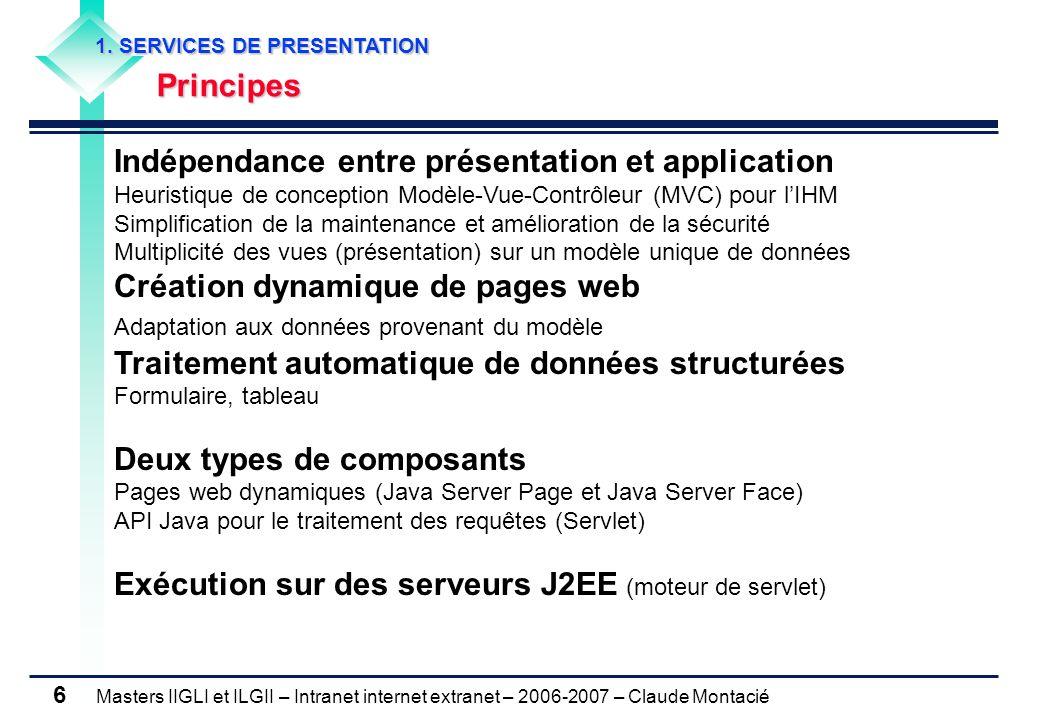 Masters IIGLI et ILGII – Intranet internet extranet – 2006-2007 – Claude Montacié 6 1.