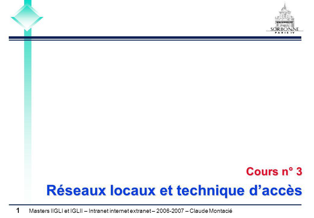 Masters IIGLI et IGLII – Intranet internet extranet – 2006-2007 – Claude Montacié 1 Cours n° 3 Réseaux locaux et technique d'accès
