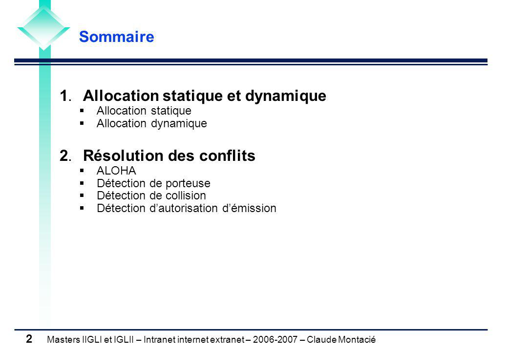 Masters IIGLI et IGLII – Intranet internet extranet – 2006-2007 – Claude Montacié 2 1. Allocation statique et dynamique  Allocation statique  Alloca
