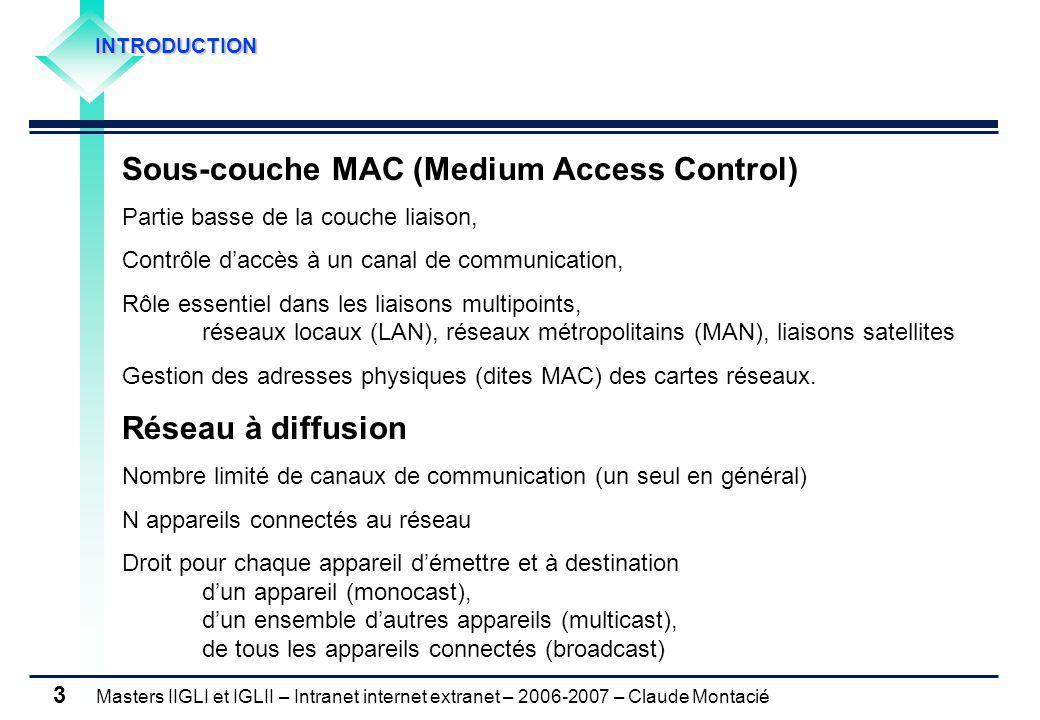 Masters IIGLI et IGLII – Intranet internet extranet – 2006-2007 – Claude Montacié 4 INTRODUCTION Protocoles de la sous-couche MAC IEEE 802.3 Ethernet IEEE 802.4 Token Bus IEEE 802.5 Token Ring IEEE 802.6 DQDB IEEE 802.2 Logical Link Control Réseaux locaux (LAN) sous-couche LLC sous-couche MAC Fibres optiques (MAN) IEEE 802.11 Wireless