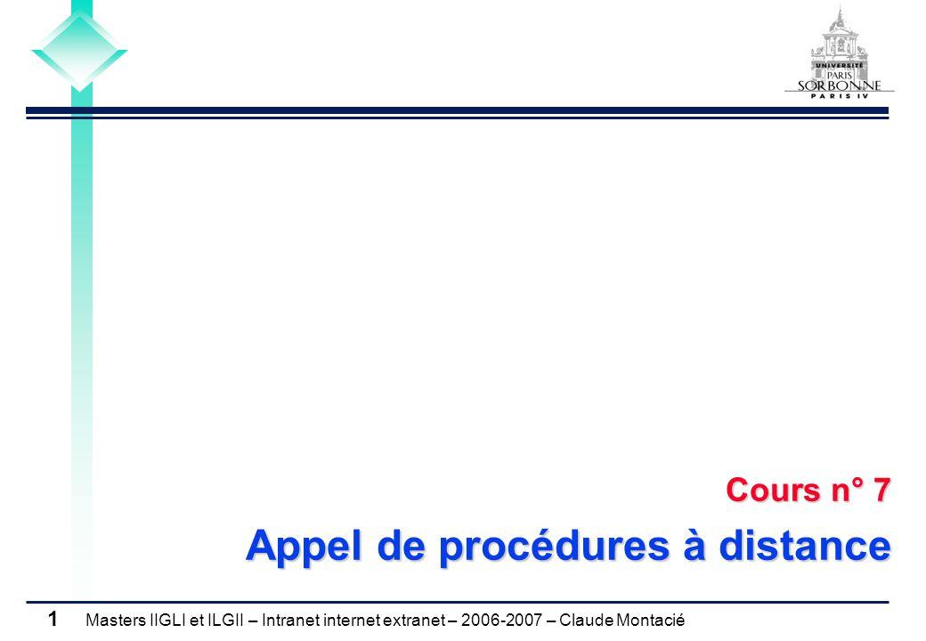 Masters IIGLI et ILGII – Intranet internet extranet – 2006-2007 – Claude Montacié 1 Cours n° 7 Appel de procédures à distance