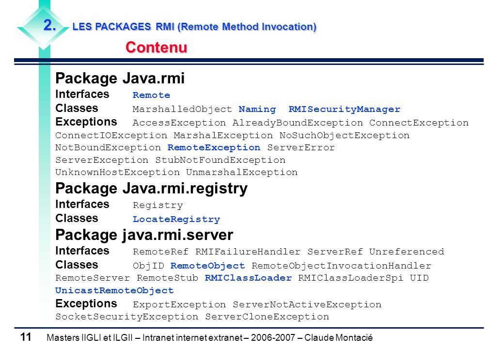 Masters IIGLI et ILGII – Intranet internet extranet – 2006-2007 – Claude Montacié 11 2. LES PACKAGES RMI (Remote Method Invocation) Contenu Package Ja