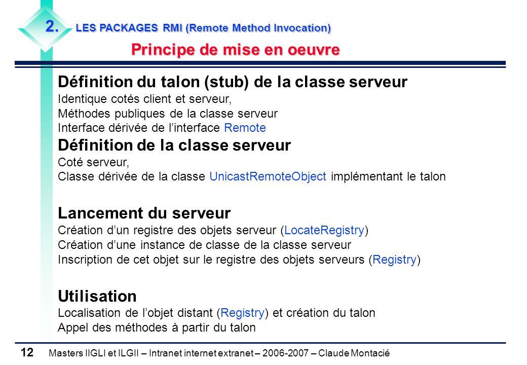 Masters IIGLI et ILGII – Intranet internet extranet – 2006-2007 – Claude Montacié 12 2. LES PACKAGES RMI (Remote Method Invocation) Principe de mise e