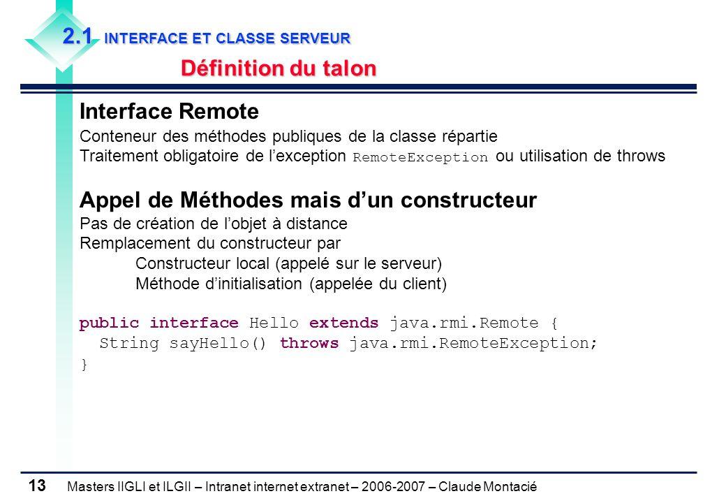 Masters IIGLI et ILGII – Intranet internet extranet – 2006-2007 – Claude Montacié 13 2.1 INTERFACE ET CLASSE SERVEUR Définition du talon Interface Rem