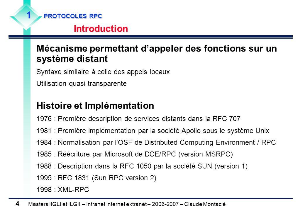 Masters IIGLI et ILGII – Intranet internet extranet – 2006-2007 – Claude Montacié 4 1 PROTOCOLES RPC Introduction Mécanisme permettant d'appeler des f