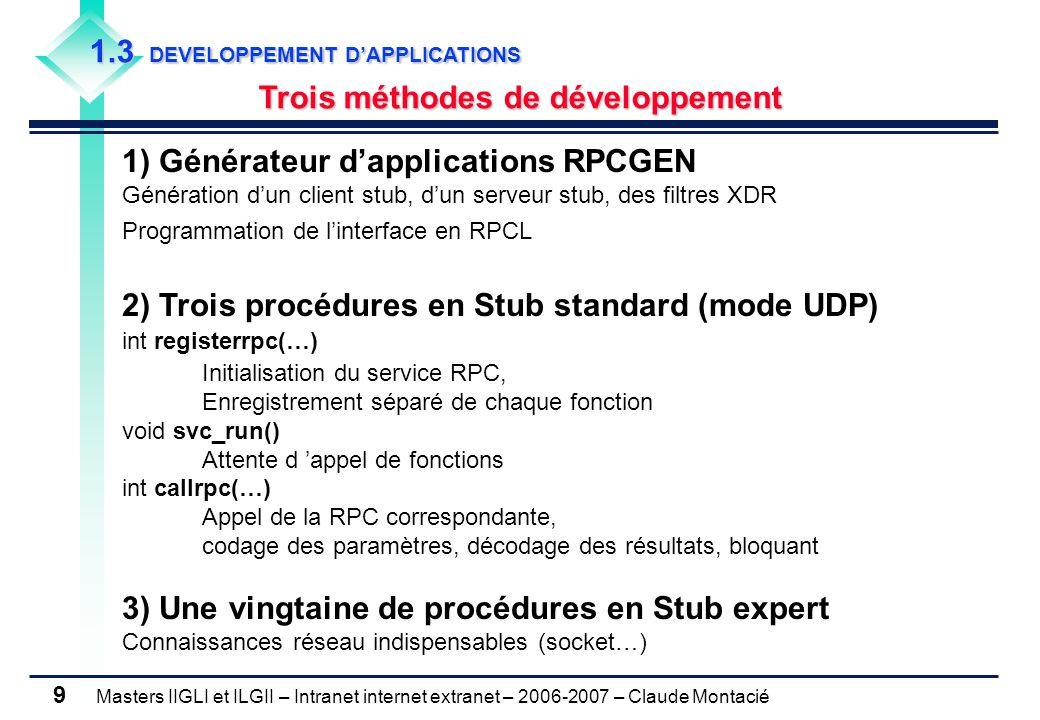 Masters IIGLI et ILGII – Intranet internet extranet – 2006-2007 – Claude Montacié 9 1.3 DEVELOPPEMENT D'APPLICATIONS Trois méthodes de développement 1) Générateur d'applications RPCGEN Génération d'un client stub, d'un serveur stub, des filtres XDR Programmation de l'interface en RPCL 2) Trois procédures en Stub standard (mode UDP) int registerrpc(…) Initialisation du service RPC, Enregistrement séparé de chaque fonction void svc_run() Attente d 'appel de fonctions int callrpc(…) Appel de la RPC correspondante, codage des paramètres, décodage des résultats, bloquant 3) Une vingtaine de procédures en Stub expert Connaissances réseau indispensables (socket…)