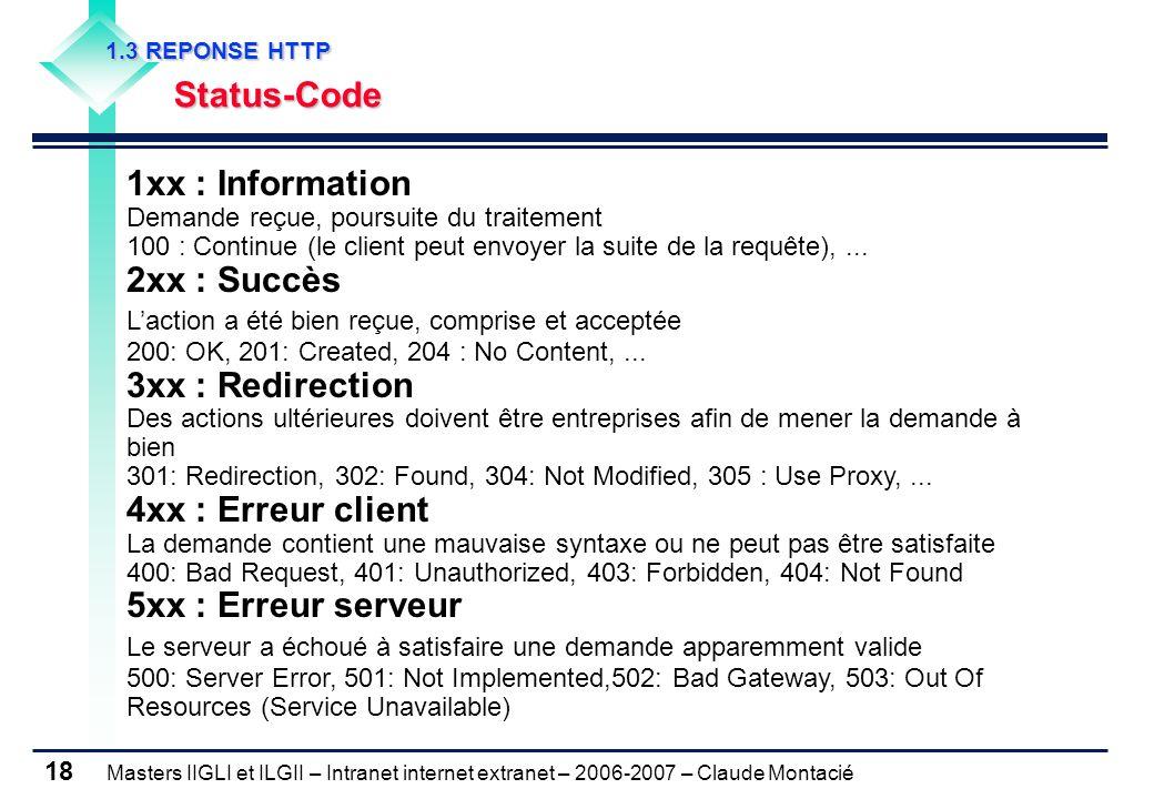 Masters IIGLI et ILGII – Intranet internet extranet – 2006-2007 – Claude Montacié 18 1.3 REPONSE HTTP 1.3 REPONSE HTTP Status-Code Status-Code 1xx : Information Demande reçue, poursuite du traitement 100 : Continue (le client peut envoyer la suite de la requête),...