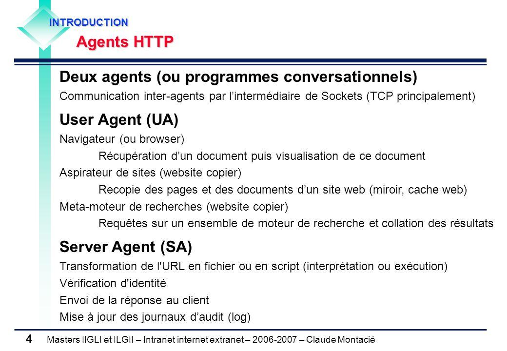 Masters IIGLI et ILGII – Intranet internet extranet – 2006-2007 – Claude Montacié 4 Deux agents (ou programmes conversationnels) Communication inter-a