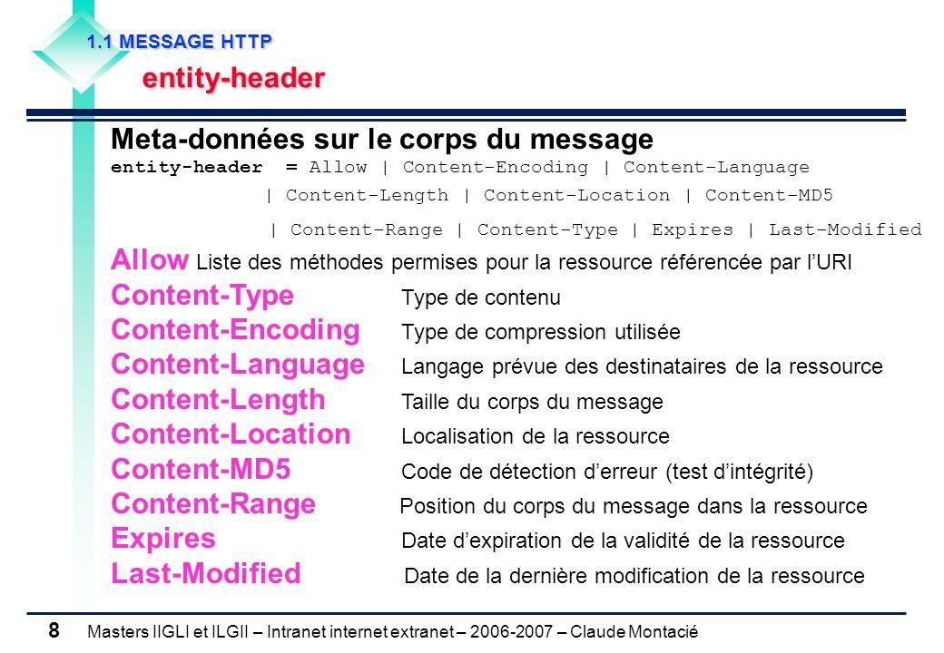 Masters IIGLI et ILGII – Intranet internet extranet – 2006-2007 – Claude Montacié 8 Meta-données sur le corps du message entity-header = Allow | Content-Encoding | Content-Language | Content-Length | Content-Location | Content-MD5 | Content-Range | Content-Type | Expires | Last-Modified Allow Liste des méthodes permises pour la ressource référencée par l'URI Content-Type Type de contenu Content-Encoding Type de compression utilisée Content-Language Langage prévue des destinataires de la ressource Content-Length Taille du corps du message Content-Location Localisation de la ressource Content-MD5 Code de détection d'erreur (test d'intégrité) Content-Range Position du corps du message dans la ressource Expires Date d'expiration de la validité de la ressource Last-Modified Date de la dernière modification de la ressource 1.1 MESSAGE HTTP 1.1 MESSAGE HTTP entity-header entity-header
