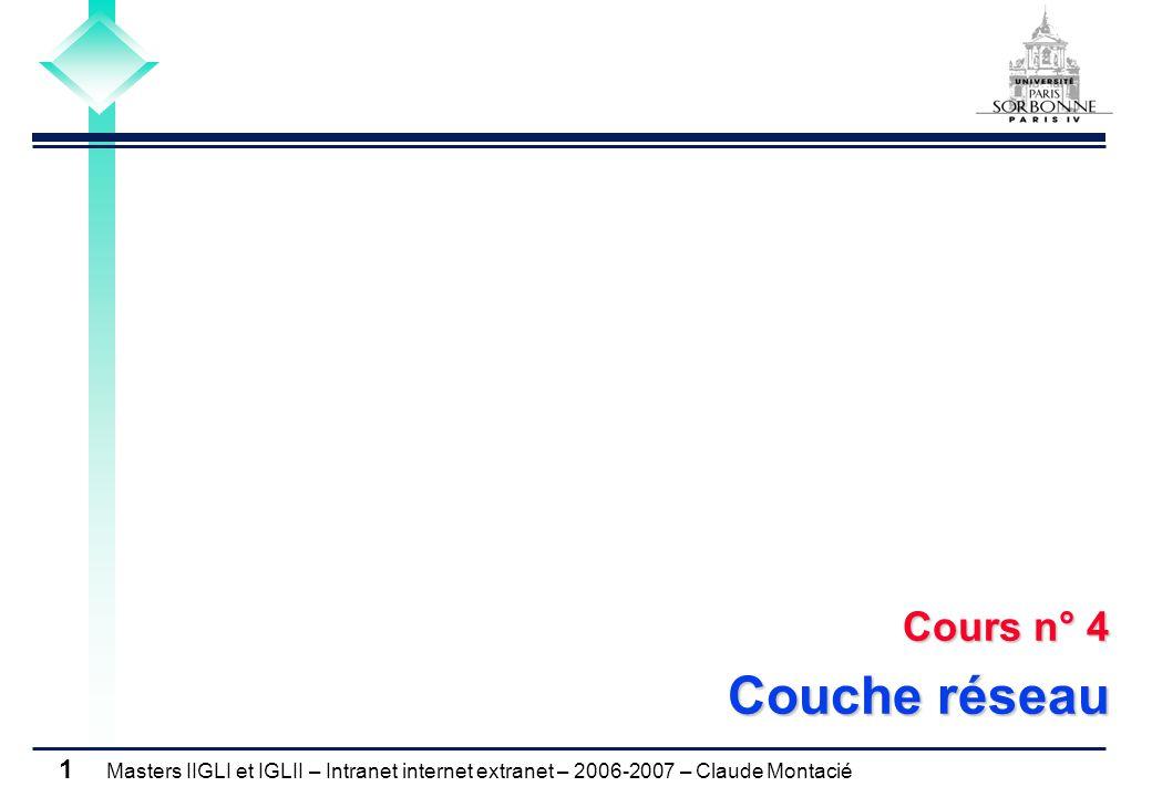 Masters IIGLI et IGLII – Intranet internet extranet – 2006-2007 – Claude Montacié 1 Cours n° 4 Couche réseau