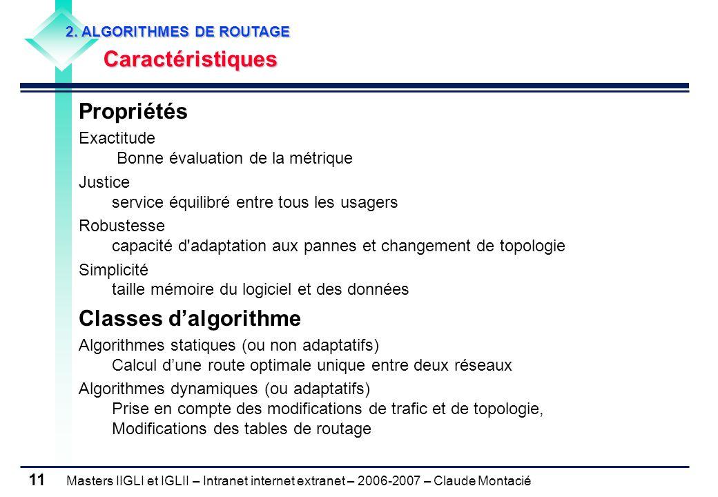 Masters IIGLI et IGLII – Intranet internet extranet – 2006-2007 – Claude Montacié 11 Propriétés Exactitude Bonne évaluation de la métrique Justice ser