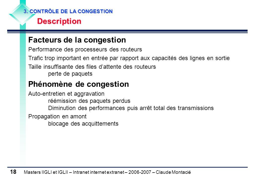 Masters IIGLI et IGLII – Intranet internet extranet – 2006-2007 – Claude Montacié 18 Facteurs de la congestion Performance des processeurs des routeur