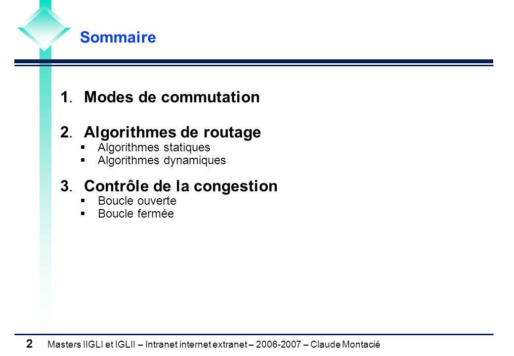 Masters IIGLI et IGLII – Intranet internet extranet – 2006-2007 – Claude Montacié 2 1. Modes de commutation 2. Algorithmes de routage  Algorithmes st