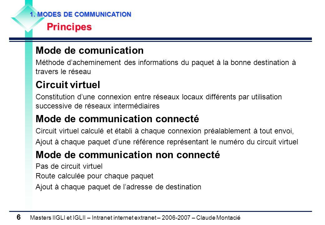 Masters IIGLI et IGLII – Intranet internet extranet – 2006-2007 – Claude Montacié 7 Aiguillage du trafic établissant un circuit virtuel temporaire Approche des opérateurs des réseaux de télécommunication Calcul d'une route au moment de la connexion Transmission de tous les paquets d'un message par cette route mode connecté Equipement réseau spécialisé permettant la fonction commutation commutateur Gain en qualité de service de la commutation Pas de calcul d'une route pour chaque paquet Pas de perte de l'ordre des paquets Adaptée aux réseaux fiables Perte du message complet en cas de panne d'un commutateur Prix élevé du service 1.