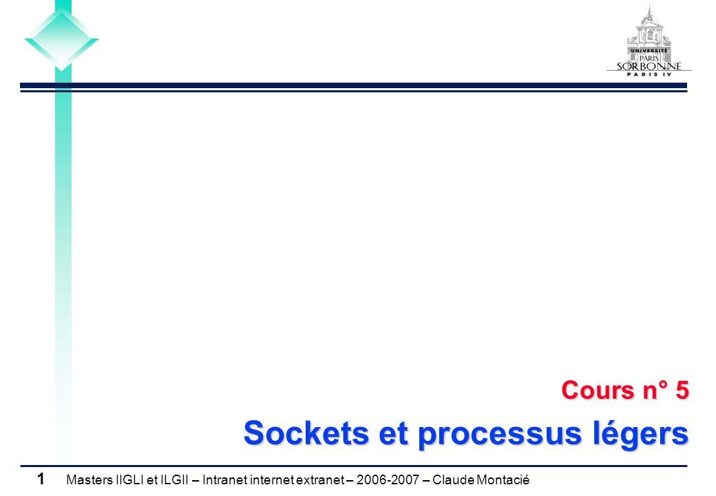 Masters IIGLI et ILGII – Intranet internet extranet – 2006-2007 – Claude Montacié 1 Cours n° 5 Sockets et processus légers