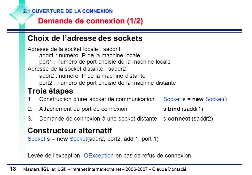 Masters IIGLI et ILGII – Intranet internet extranet – 2006-2007 – Claude Montacié 13 2.1 OUVERTURE DE LA CONNEXION 2.1 OUVERTURE DE LA CONNEXION Demande de connexion (1/2) Demande de connexion (1/2) Choix de l'adresse des sockets Adresse de la socket locale : saddr1 addr1 : numéro IP de la machine locale port1 : numéro de port choisie de la machine locale Adresse de la socket distante : saddr2 addr2 : numéro IP de la machine distante port2 : numéro de port choisie de la machine distante Trois étapes 1.Construction d'une socket de communication Socket s = new Socket() 2.Attachement du port de connexions.bind (saddr1) 3.Demande de connexion à une socket distantes.connect (saddr2) Constructeur alternatif Socket s = new Socket(addr2, port2, addr1, port 1) Levée de l'exception IOException en cas de refus de connexion