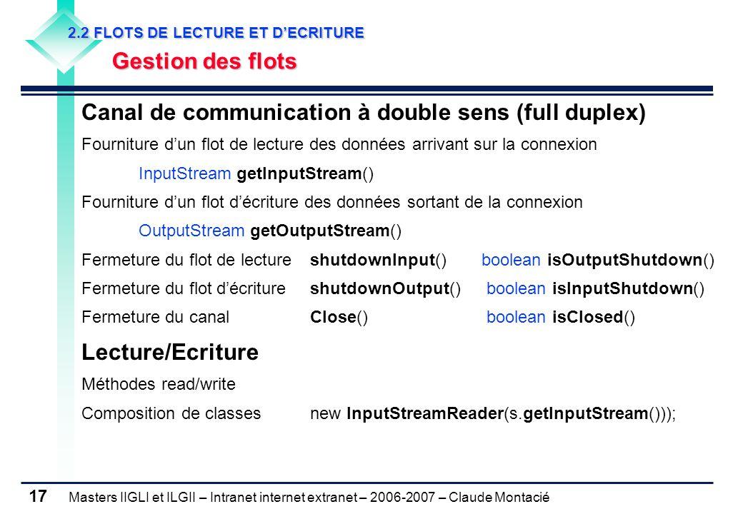 Masters IIGLI et ILGII – Intranet internet extranet – 2006-2007 – Claude Montacié 17 2.2 FLOTS DE LECTURE ET D'ECRITURE 2.2 FLOTS DE LECTURE ET D'ECRITURE Gestion des flots Gestion des flots Canal de communication à double sens (full duplex) Fourniture d'un flot de lecture des données arrivant sur la connexion InputStream getInputStream() Fourniture d'un flot d'écriture des données sortant de la connexion OutputStream getOutputStream() Fermeture du flot de lectureshutdownInput()boolean isOutputShutdown() Fermeture du flot d'écritureshutdownOutput() boolean isInputShutdown() Fermeture du canalClose() boolean isClosed() Lecture/Ecriture Méthodes read/write Composition de classes new InputStreamReader(s.getInputStream()));