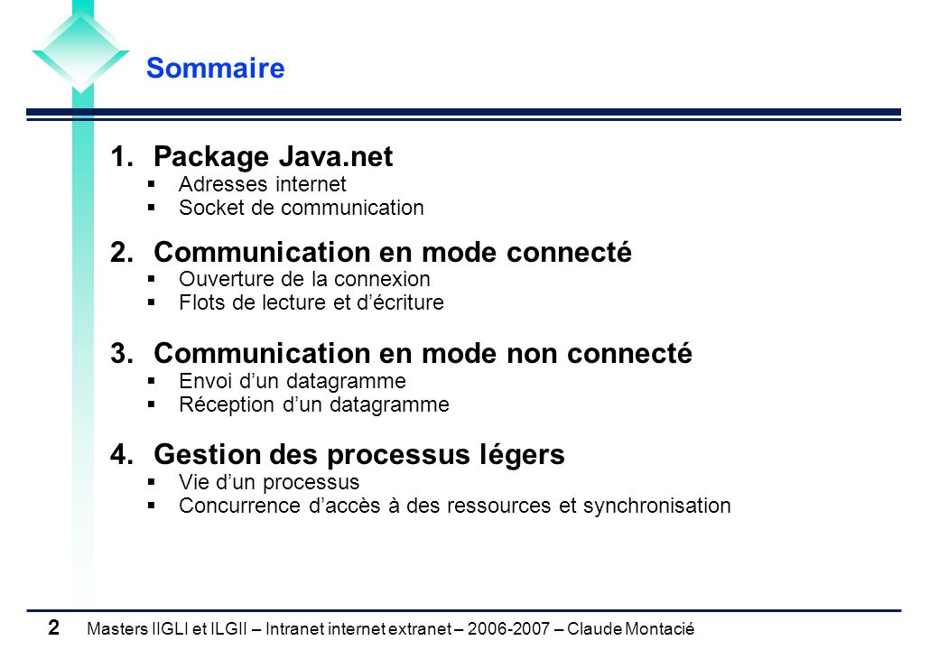 Masters IIGLI et ILGII – Intranet internet extranet – 2006-2007 – Claude Montacié 23 3.2 RECEPTION DU DATAGRAMME 3.2 RECEPTION DU DATAGRAMME Principes Principes Quatre étapes 1.Construction d'une socket de communication écoutant le port p DatagramSocket ds = new DatagramSocket(p) 2.Construction d'un datagramme contenant un tableau de bytes vide : b DatagramPacket dp = new DatagramPacket(b, b.length) 3.Reception du datagrammeds.receive (dp) 4.Extraction des données du paquet Levée des exceptions SocketException et IOException byte[] getData() tableau de byte contenant les données int getLength() taille en octet des données reçues SocketAddress getSocketAddress() adresse de la socket émettrice