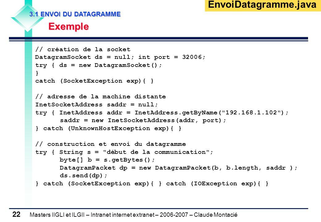 Masters IIGLI et ILGII – Intranet internet extranet – 2006-2007 – Claude Montacié 22 3.1 ENVOI DU DATAGRAMME 3.1 ENVOI DU DATAGRAMME Exemple Exemple // création de la socket DatagramSocket ds = null; int port = 32006; try { ds = new DatagramSocket(); } catch (SocketException exp){ } // adresse de la machine distante InetSocketAddress saddr = null; try { InetAddress addr = InetAddress.getByName( 192.168.1.102 ); saddr = new InetSocketAddress(addr, port); } catch (UnknownHostException exp){ } // construction et envoi du datagramme try { String s = début de la communication ; byte[] b = s.getBytes(); DatagramPacket dp = new DatagramPacket(b, b.length, saddr ); ds.send(dp); } catch (SocketException exp){ } catch (IOException exp){ } EnvoiDatagramme.java