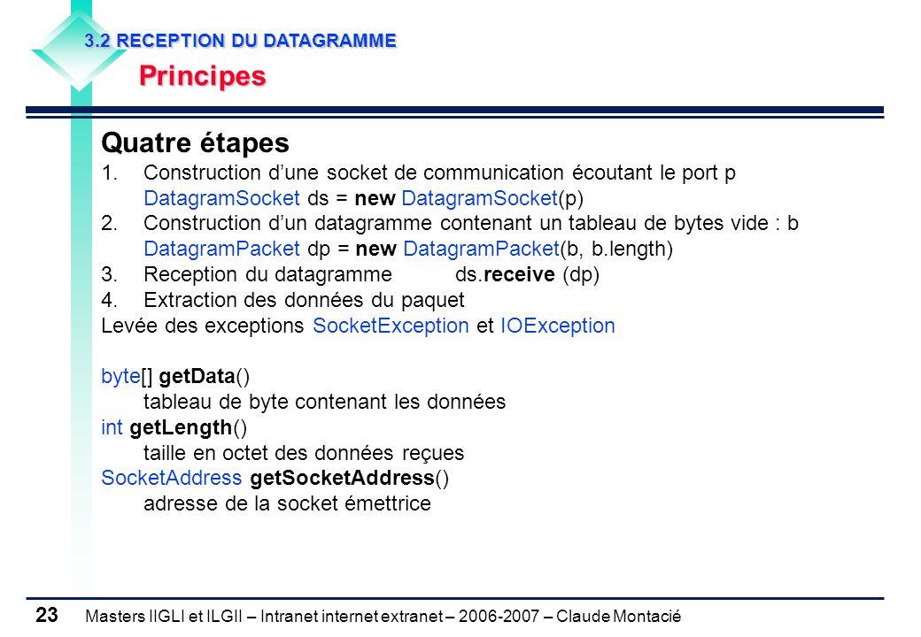 Masters IIGLI et ILGII – Intranet internet extranet – 2006-2007 – Claude Montacié 23 3.2 RECEPTION DU DATAGRAMME 3.2 RECEPTION DU DATAGRAMME Principes Principes Quatre étapes 1.Construction d'une socket de communication écoutant le port p DatagramSocket ds = new DatagramSocket(p) 2.Construction d'un datagramme contenant un tableau de bytes vide : b DatagramPacket dp = new DatagramPacket(b, b.length) 3.Reception du datagrammeds.receive (dp) 4.Extraction des données du paquet Levée des exceptions SocketException et IOException byte[] getData() tableau de byte contenant les données int getLength() taille en octet des données reçues SocketAddress getSocketAddress() adresse de la socket émettrice