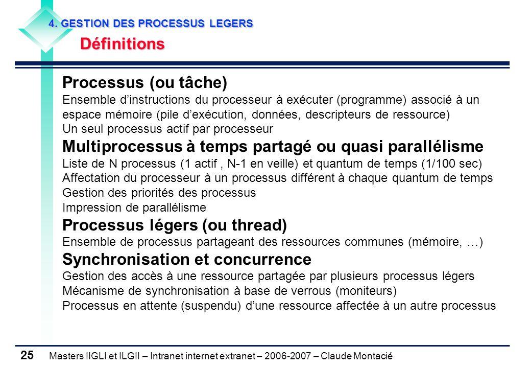 Masters IIGLI et ILGII – Intranet internet extranet – 2006-2007 – Claude Montacié 25 4. GESTION DES PROCESSUS LEGERS 4. GESTION DES PROCESSUS LEGERS D