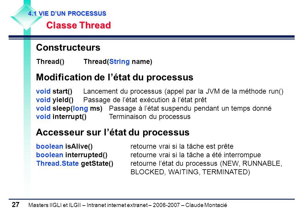 Masters IIGLI et ILGII – Intranet internet extranet – 2006-2007 – Claude Montacié 27 4.1 VIE D'UN PROCESSUS 4.1 VIE D'UN PROCESSUS Classe Thread Classe Thread Constructeurs Thread() Thread(String name) Modification de l'état du processus void start()Lancement du processus (appel par la JVM de la méthode run() void yield()Passage de l'état exécution à l'état prêt void sleep(long ms) Passage à l'état suspendu pendant un temps donné void interrupt() Terminaison du processus Accesseur sur l'état du processus boolean isAlive()retourne vrai si la tâche est prête boolean interrupted() retourne vrai si la tâche a été interrompue Thread.State getState() retourne l'état du processus (NEW, RUNNABLE, BLOCKED, WAITING, TERMINATED)